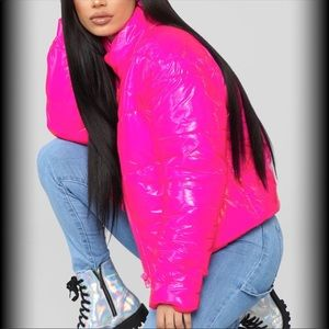 Hot & Delicious Pink Puffer Coat